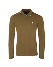 Pretty Green Mens Green L/S Barton Tipped Polo