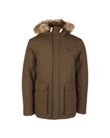 Fred Perry Mens Brown Fur Trim Parka