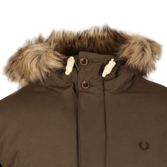 Fred Perry Mens Brown Fur Trim Parka main image