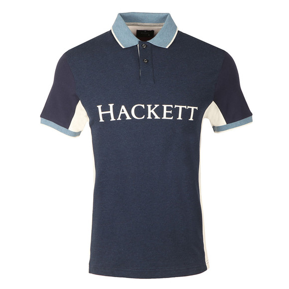 Hackett Mens Blue S/S Mix Panel Polo main image