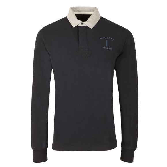 Hackett Mens Blue L/S Classic Rugby Polo main image