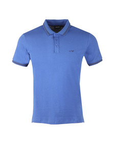 Armani Jeans Mens Blue Tipped Polo Shirt