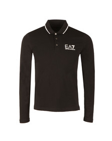 EA7 Emporio Armani Mens Black Tipped Long Sleeve Polo Shirt