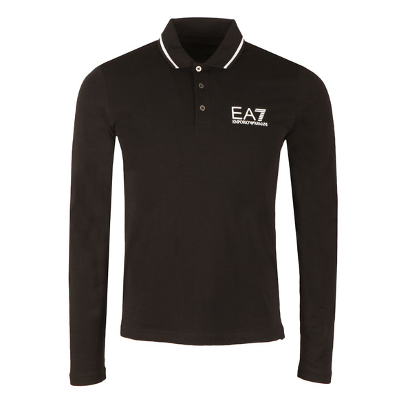 EA7 Emporio Armani Mens Black Tipped Long Sleeve Polo Shirt main image