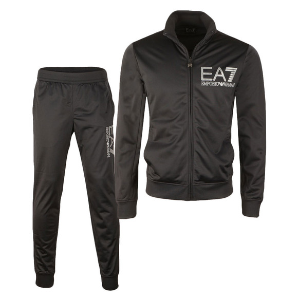 EA7 Emporio Armani Mens Blue Striped Logo Full Zip Tracksuit main image