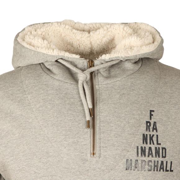 Franklin & Marshall Mens Grey Hooded Fleecel Half Zip main image