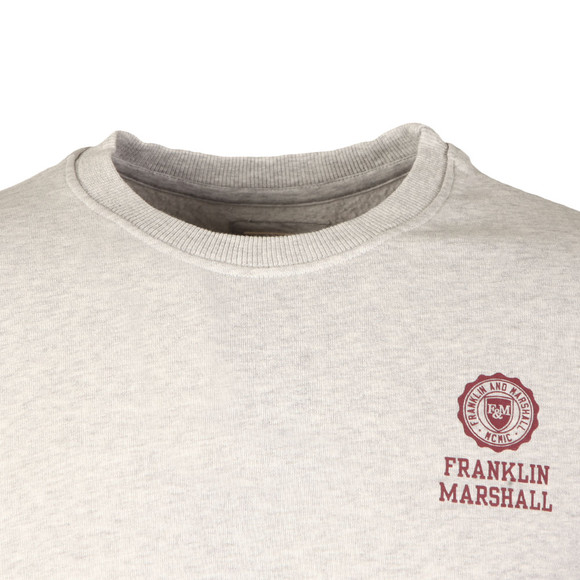 Franklin & Marshall Mens Grey Small Printed Logo Crew Sweatshirt main image