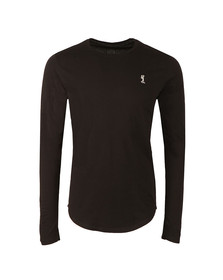Religion Mens Black Plain Longline L/S T-Shirt