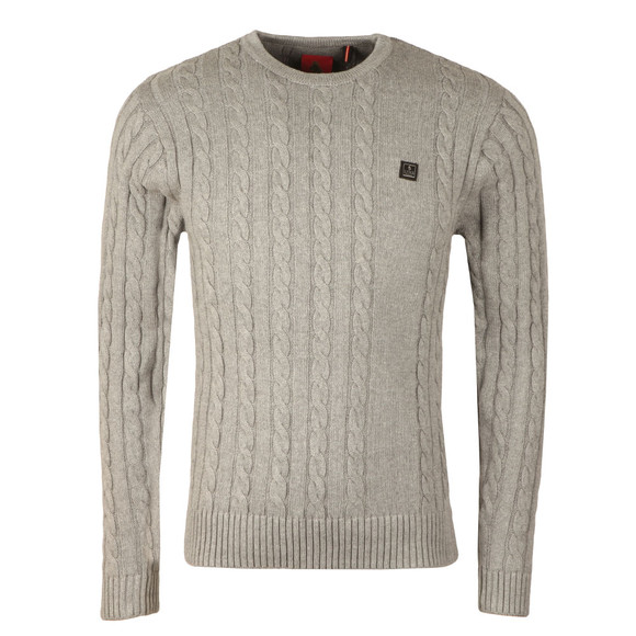 Luke Mens Grey Hortons LS Cable Crew Jumper main image