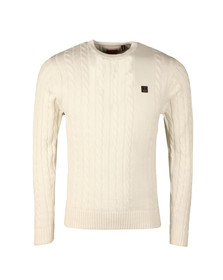Luke Mens Off-white Hortons LS Cable Crew Jumper