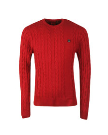 Luke Mens Red Hortons LS Cable Crew Jumper