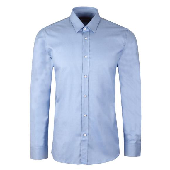 HUGO Mens Blue Elisha Slim Zig Zag Pattern Shirt