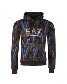 EA7 Emporio Armani Mens Fancy Blue All Over Print Overhead Hoody