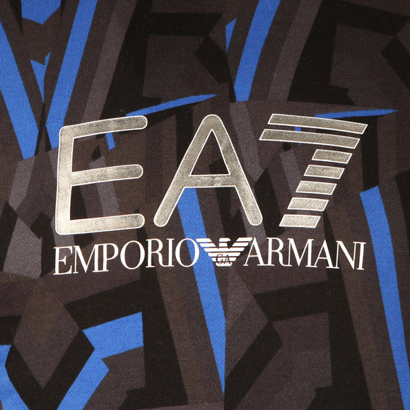 EA7 Emporio Armani Mens Blue All Over Print Overhead Hoody main image
