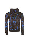 EA7 Emporio Armani Mens Blue All Over Print Overhead Hoody