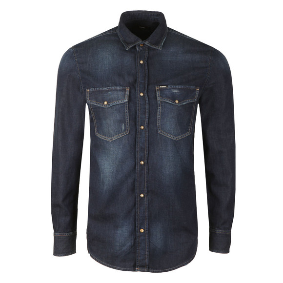 1eea4334f35 Diesel Mens Blue D-Rooke Denim Shirt main image