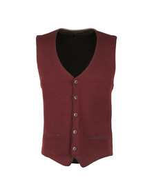 Remus Mens Red Knitted Waistcoat