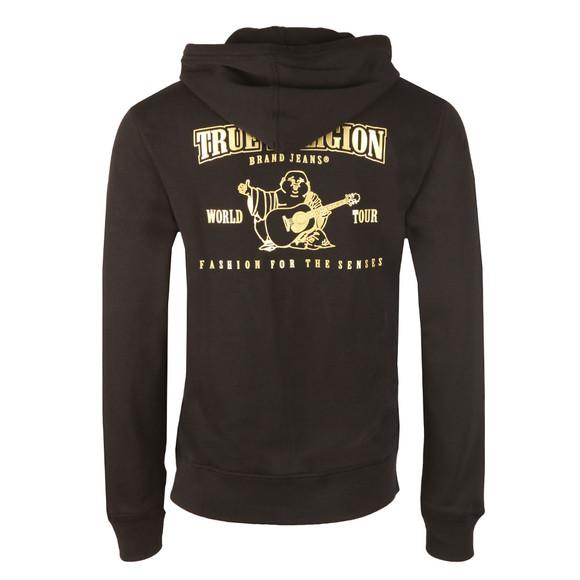 True Religion Mens Black Metallic Double Puff Hoodie main image