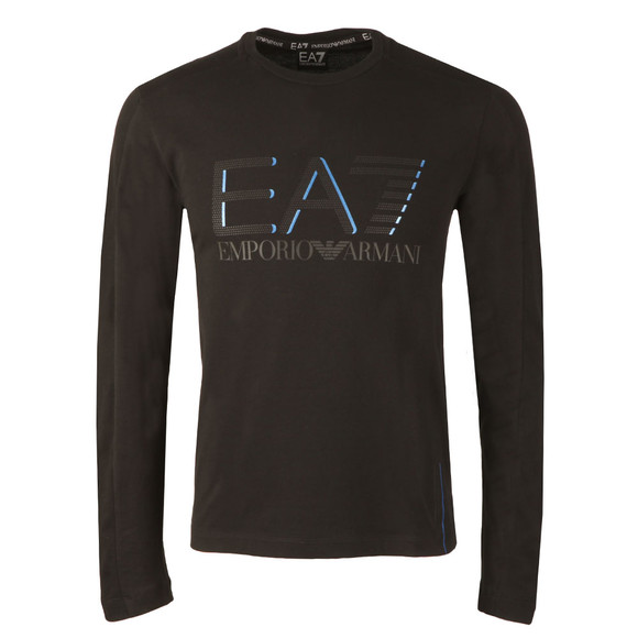 EA7 Emporio Armani Mens Black Large Logo Long Sleeve T Shirt main image
