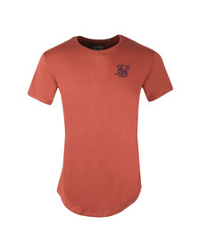 Sik Silk Mens Red Curved Hem Colours T Shirt