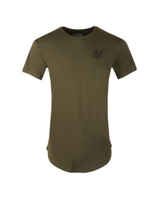 Sik Silk Mens Green Curved Hem Colours T Shirt