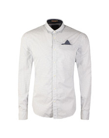 Scotch & Soda Mens White Classic Shirt With Pochet