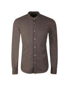 Scotch & Soda Mens Grey Collarless L/S Shirt