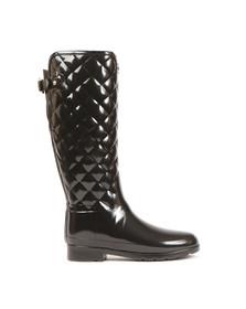 Hunter Womens Black Refined Gloss Quilt Tall Boot