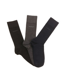 Boss Mens Multicoloured 3 Pack Plain Box Set Sock