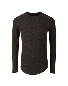Sik Silk Mens Black Long Sleeve Curved Hem Knitted T Shirt