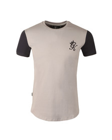Gym king Mens Silver Long Line Contrast T Shirt
