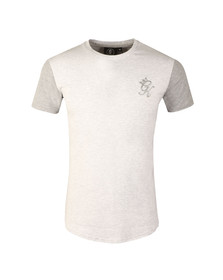 Gym king Mens White Long Line Contrast T Shirt