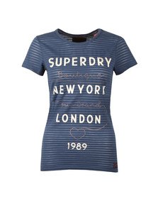 Superdry Womens Blue Glitter Burnout Stripe Entry Tee