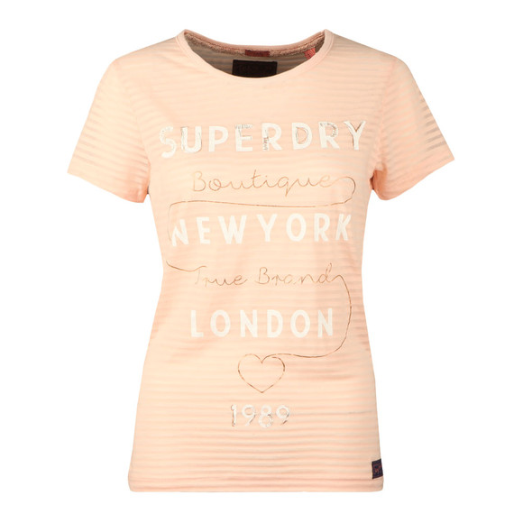 Superdry Womens Pink Glitter Burnout Stripe Entry Tee main image