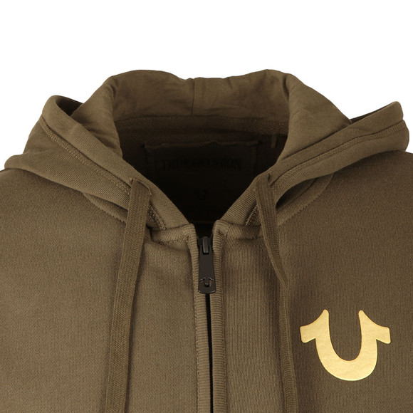 True Religion Mens Green Metallic Double Puff Hoodie