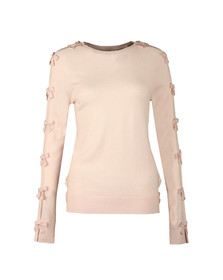 Ted Baker Womens Pink Sakarie Bow Sleeve Detail Jumper
