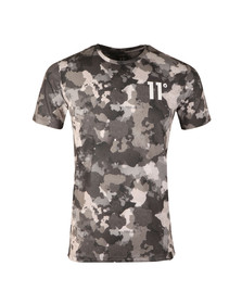 Eleven Degrees Mens Green Watercolour Camo Sub T Shirt