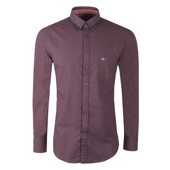Fynch Hatton Mens Purple Winter Print LS Shirt main image