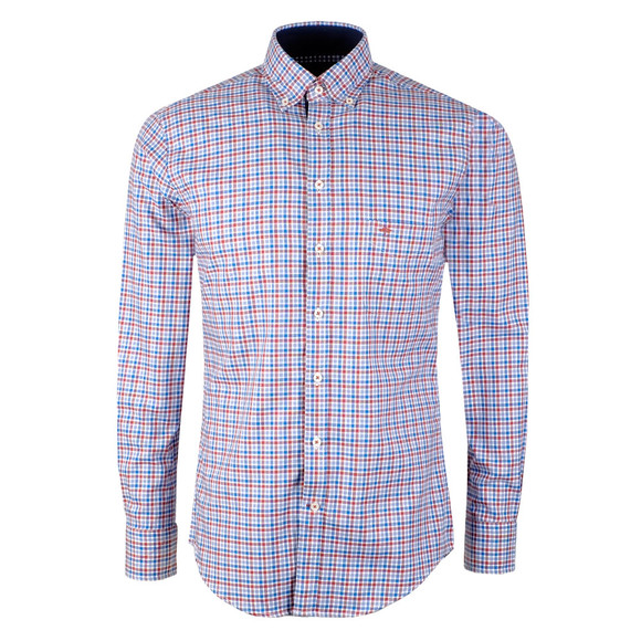 Fynch Hatton Mens Blue L/S Check Shirt main image