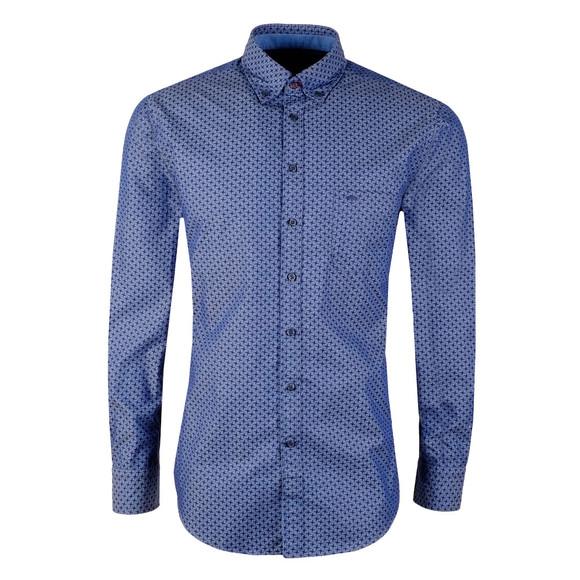 Fynch Hatton Mens Blue Winter Print LS Shirt main image