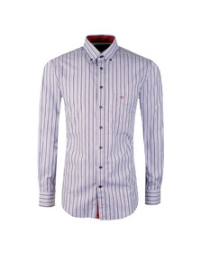Fynch Hatton Mens Purple LS Combi Stripe Shirt
