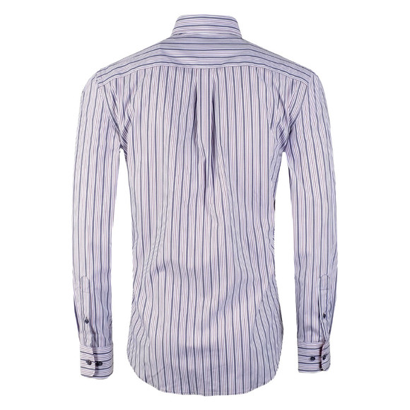 Fynch Hatton Mens Purple LS Combi Stripe Shirt main image