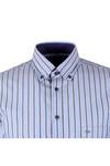 Fynch Hatton Mens Blue LS Combi Stripe Shirt