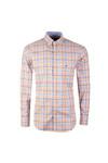 Fynch Hatton Mens Yellow LS Tonal Combi Check Shirt