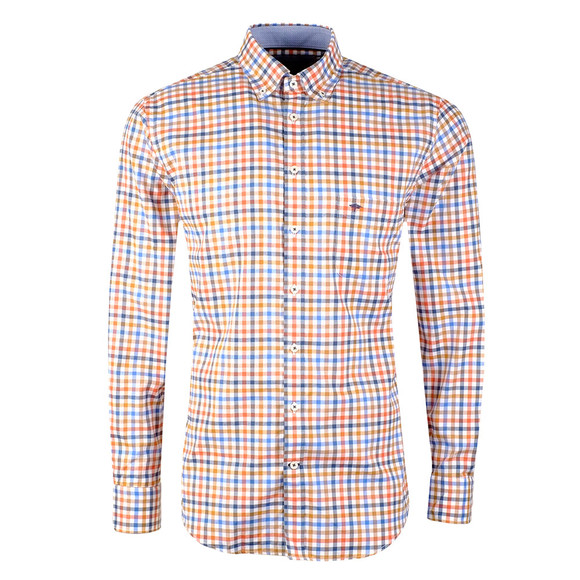 Fynch Hatton Mens Yellow LS Tonal Combi Check Shirt main image