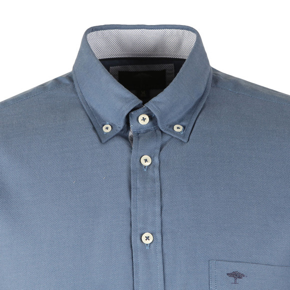 Fynch Hatton Mens Blue Plain LS Shirt main image