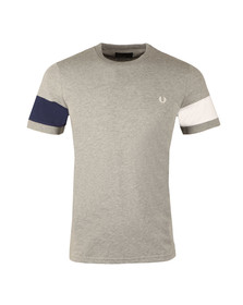 Fred Perry Mens Grey S/S Blocked Panel Tee