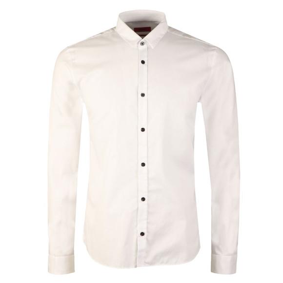 HUGO Mens White Ero-3 Plain Shirt
