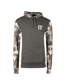 Eleven Degrees Mens Grey Printed Pull Over Hoodie