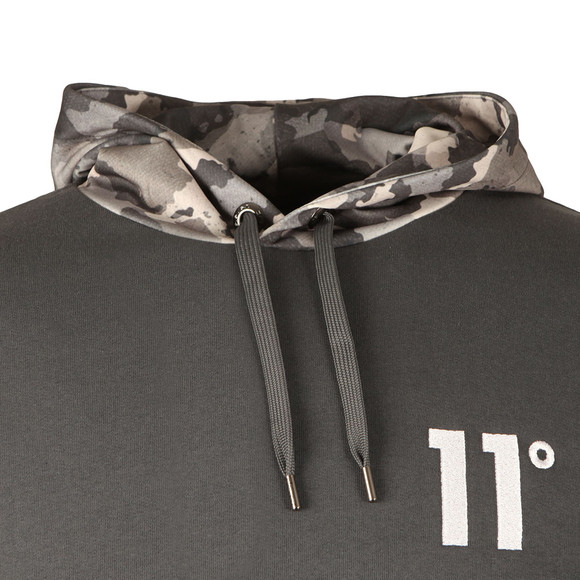 Eleven Degrees Mens Grey Printed Pull Over Hoodie  main image